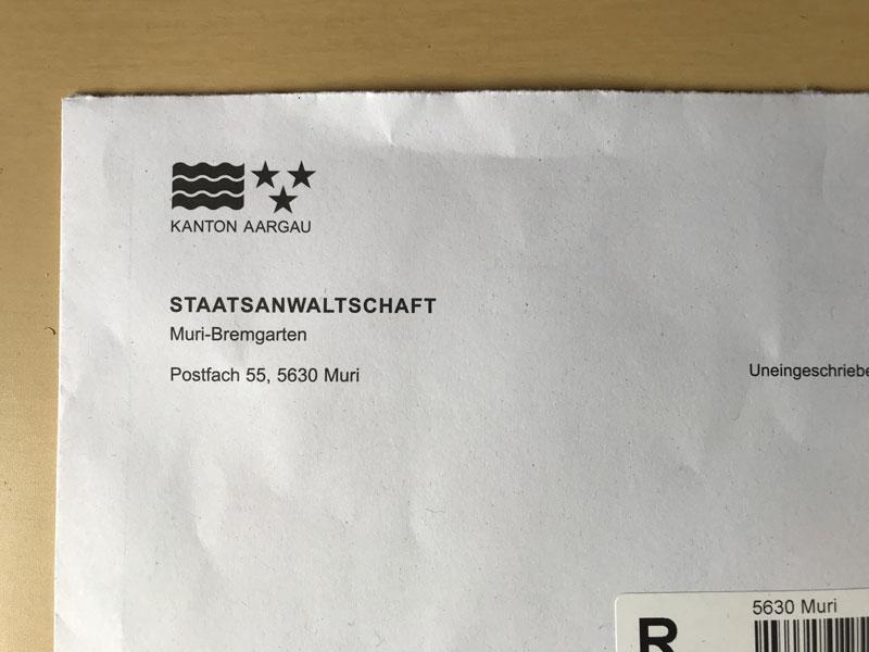 Von der Staatsanwaltschaft Post bekommen